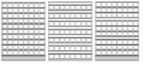 Варианты комбинированного роллетного полотна из решетчатого профиля